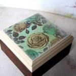Yellow And Teal Vintage Rose Box