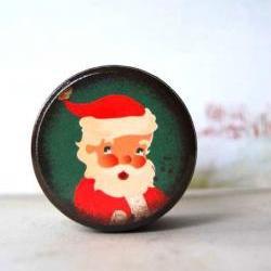 Vintage Santa Wood box - Stocking stuffer